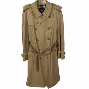 Vintage Burberry Belted Trench Coat Khaki Tan